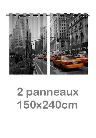 Rideau double à oeillets 2 x 150x240 avec photos