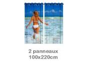 Rideau double à oeillets 2 x 100x220 avec photos