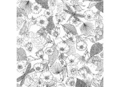 Coussin Fleurs noir et blanc