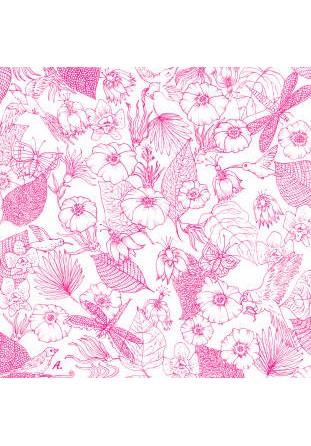 Coussin Fleurs fuchsia