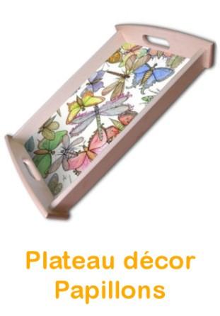 Plateau bois Papillons