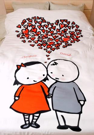 Cadeau romantique la housse de couette brod e couple - Cadeau pour jeune couple ...