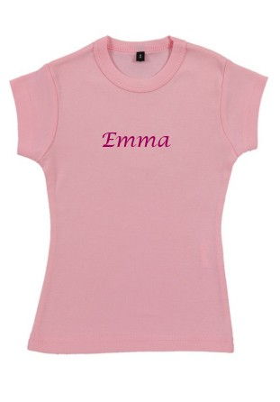 T-shirt fille brodé rose [x]