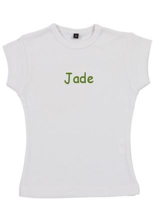 T-shirt fille brodé blanc [x]