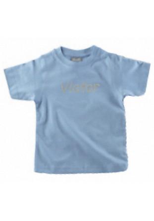 T-shirt garçon brodé bleu ciel [x]