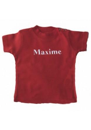 T-shirt bébé brodé rouge [x]