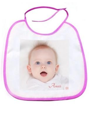 Bavoir bébé rose avec photo