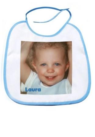 Bavoir bébé bleu avec photo