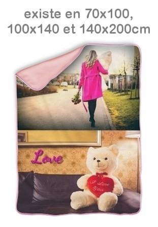 Couverture personnalisée pêle-mêle photo rose