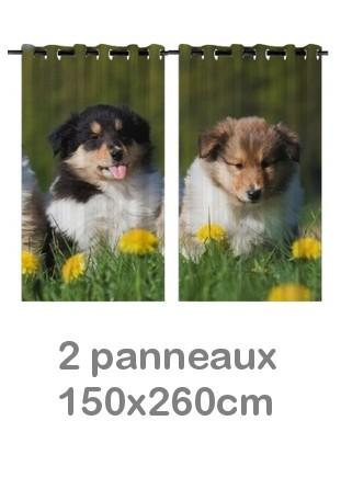 Rideau double à oeillets 2 x 150x260 avec photos