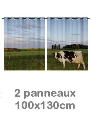 Rideau double à oeillets 2 x 100x130 avec photos