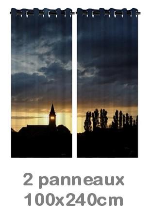 Rideau double à oeillets 2 x 100x240 avec photos
