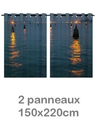 Rideau double à oeillets 2 x 150x220 avec photos