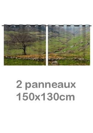 Rideau double à oeillets 2 x 150x130 avec photos
