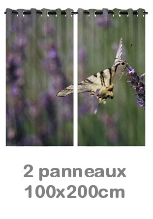 Rideau double à oeillets 2 x 100x200 avec photos