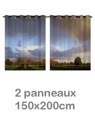 Rideau double à oeillets 2 x 150x200 avec photos