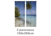 Rideau double à oeillets 2 x 100x260 avec photos
