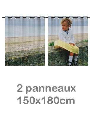 Rideau double à oeillets 2 x 150x180 avec photos