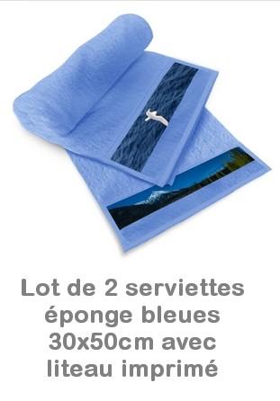 Lot 2 serviettes personnalisées éponge bleues