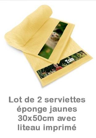 Lot 2 serviettes éponge jaunes personnalisées