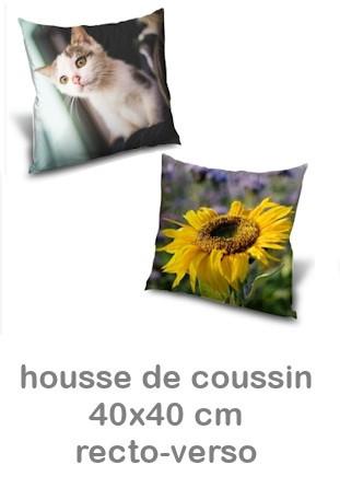 Housse de coussin personnalisable Recto Verso 40x40