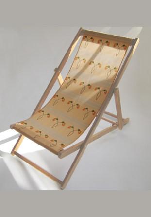 Chaise longue avec toile arabesques de coquelicots