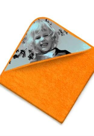 Cape de bain éponge orange avec photo
