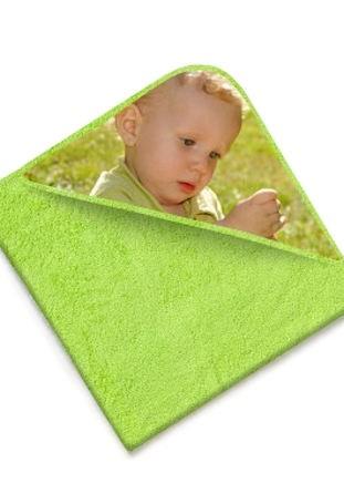 Cape de bain éponge vert clair avec photo