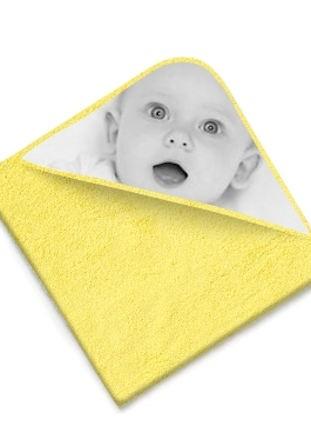 Cape de bain éponge jaune avec photo