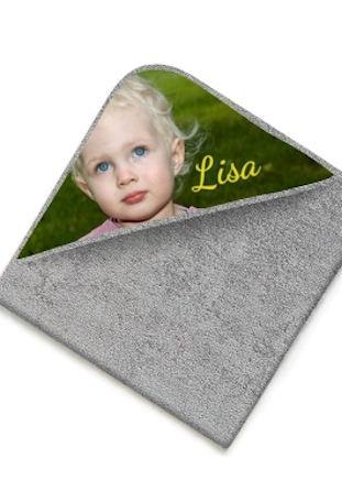 Cape de bain éponge gris clair avec photo