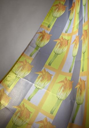 Rideau de douche décor fleur de courgette 140cm