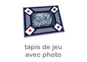Tapis pour jeu de cartes personnalisé photo bleu