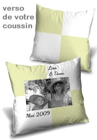 coussin personnalis imprim avec photo vert doux miss couettes. Black Bedroom Furniture Sets. Home Design Ideas