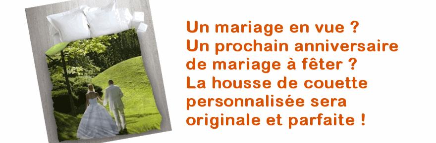 Une housse de couette personnalisable avec la photo des mariés